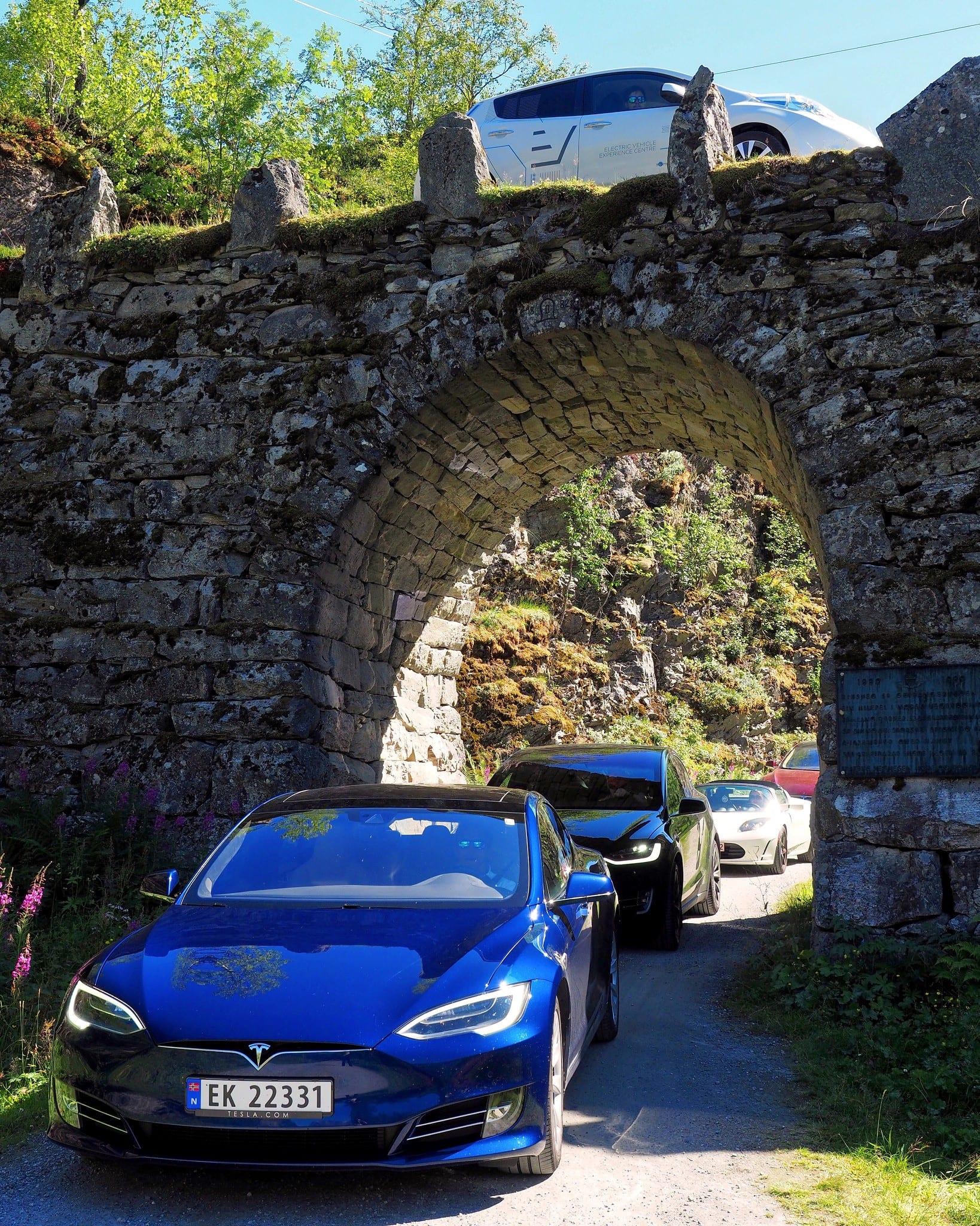 Norway bridge BMW Tesla Nissan summer challenges