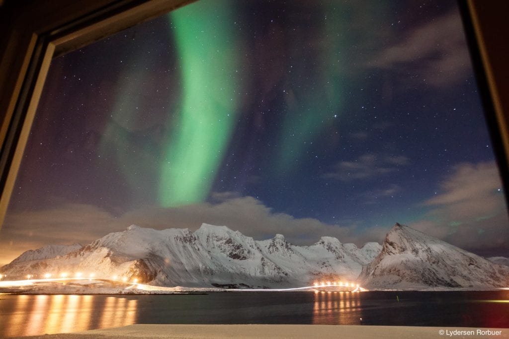 Lydersen Lofoten northern lights window view with mountains