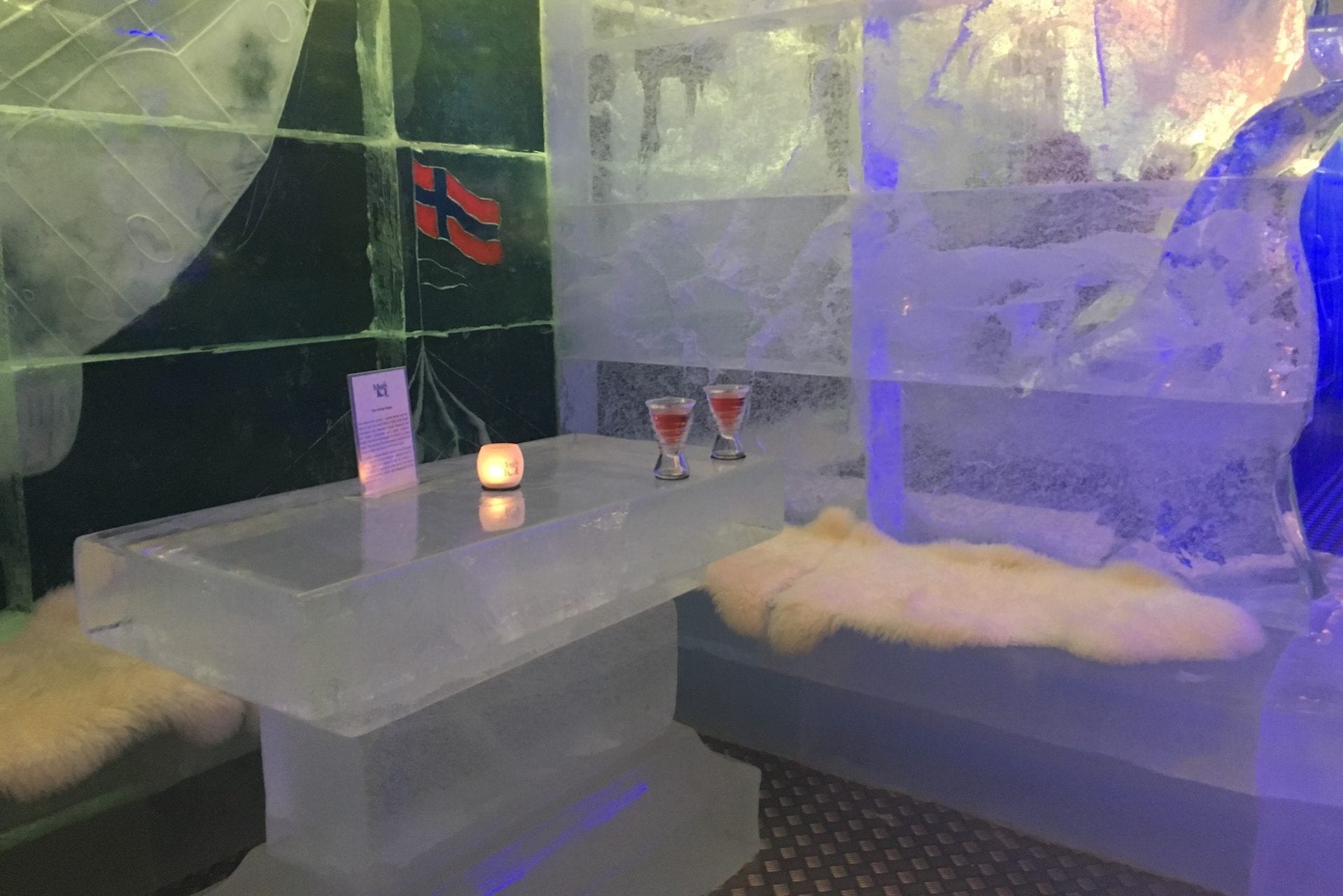 Magic Ice Bar Tromsø ice table drink
