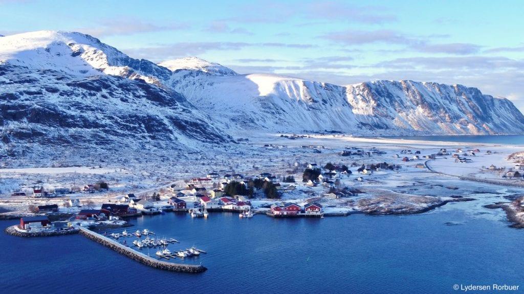 Lydersen Lofoten village and mountains