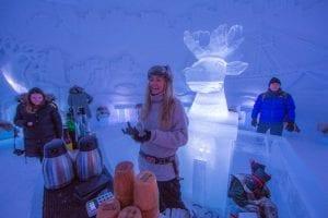 Norwegian girl smiling at customer behind ice bar at Ice Domes, Tromso, Norway