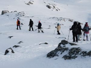 snowshoe hiking group in the mountains