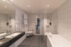 Bathroom interior in room of Sommarøy Arctic Hotel near Tromsø, Arctic Norway