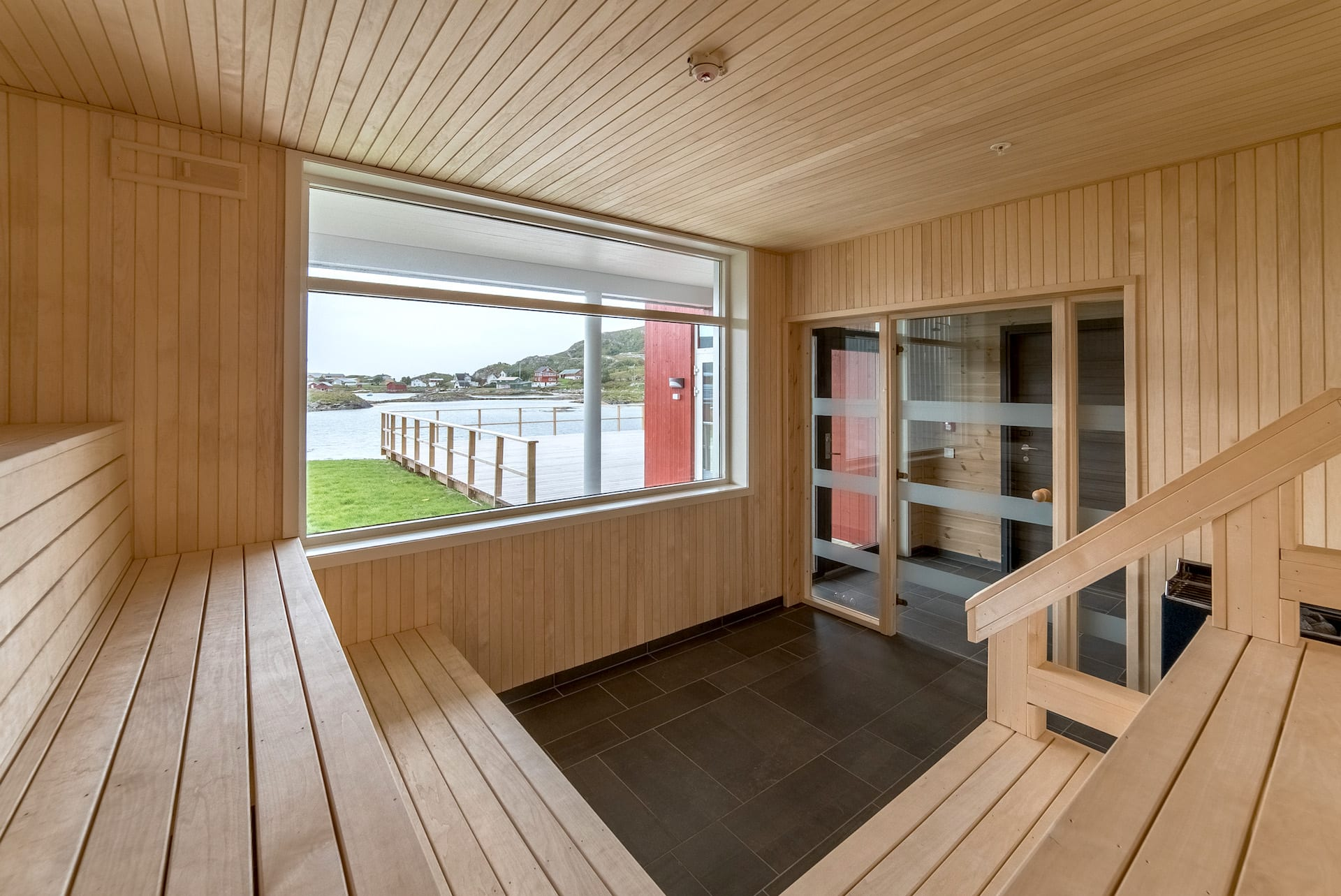 Sauna interior at Sommarøy Arctic Hotel in Sommarøy, near Tromsø, Arctic Norway