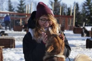 Girl getting kisses from husky at kennel in winter