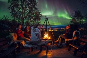 Northern Lights viewpoint with campfire at Tromsø Villmarkssenter in Kvaløya, Norway