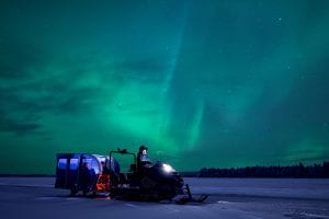 northern lights by snow train lapland finland winter