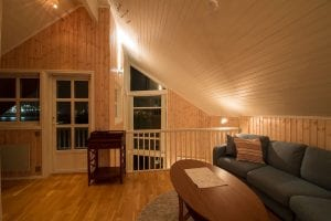 upstairs loft living room soft lighting fishermens rorbuer cabin in svolvær lofoten norway
