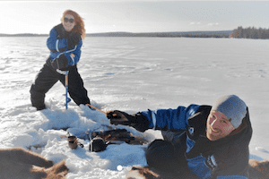 ice fishing in lapland winter finland