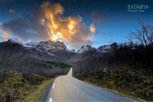 fjords and road sunny clouds bright day lofoten photo tour norway autumn