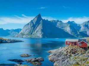 Reinebringen in background Lofoten Norway