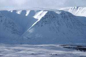 Eyjafjordur big snow covered mountain