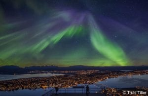 Northern Lights Cable Car Aurora Borealis in the sky with tromso birds eye view above at night