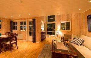 Modern cabin living room svinoya rorbu