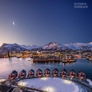 Svinoya Svolvaer Lofoten Landscape Rorbuer Pink