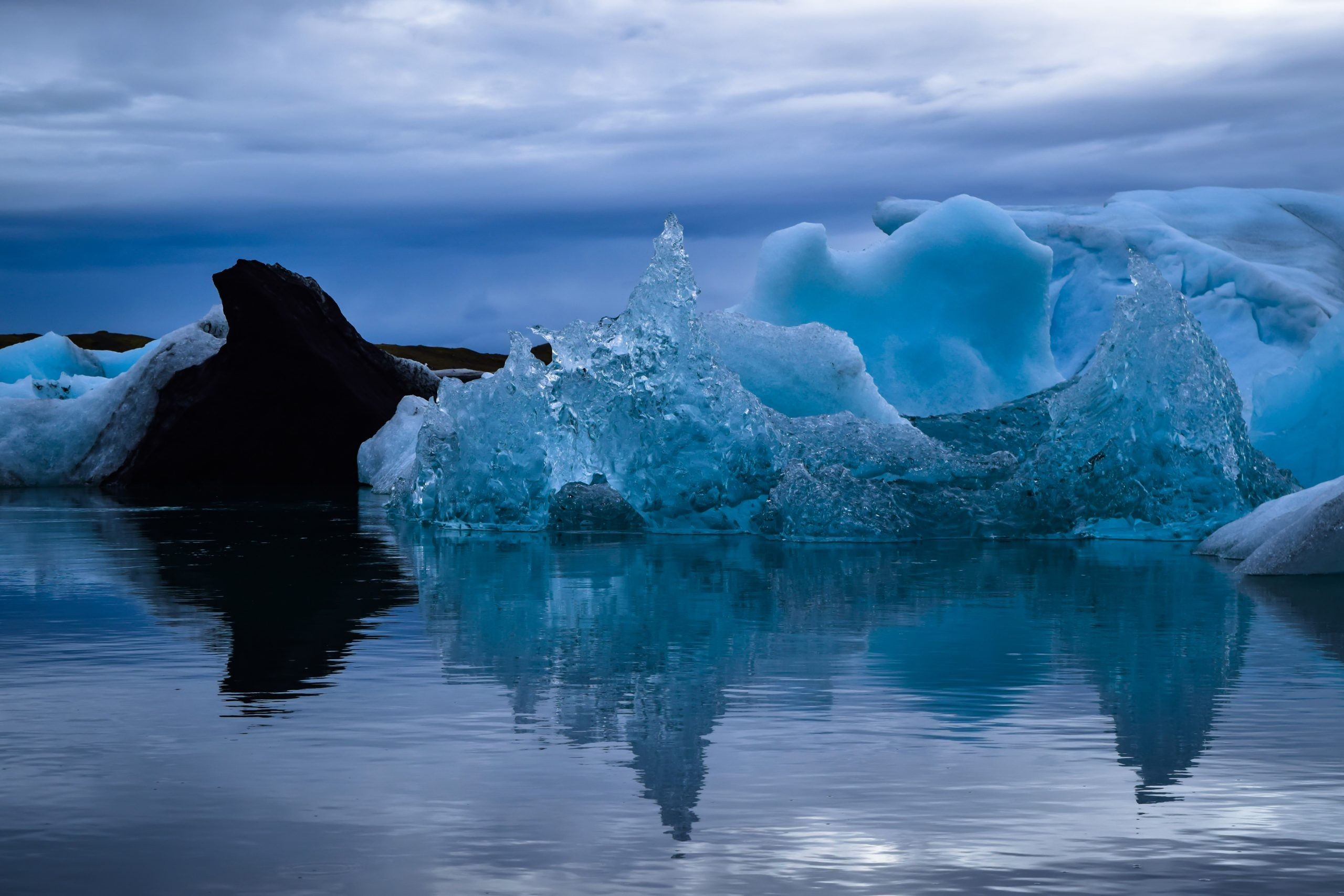 Glacier Lagoon with glaciers floating in the water